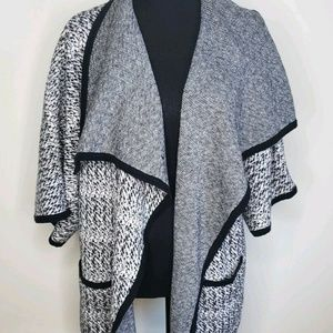 Black & White Marled Oversized Fall Sweater
